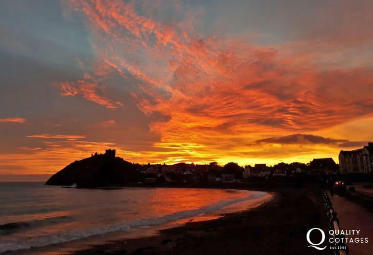 Sunset over Criccieth beach