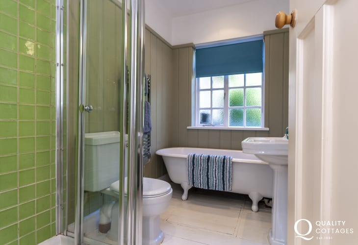Manorbier holiday home - ground floor family bathroom with separate walk-in shower