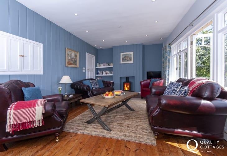 Manorbier coastal holiday home - sitting room with wifi and wood burning stove