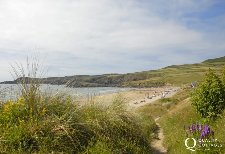 The footpath from the cottage leads down to Whitesands Bay
