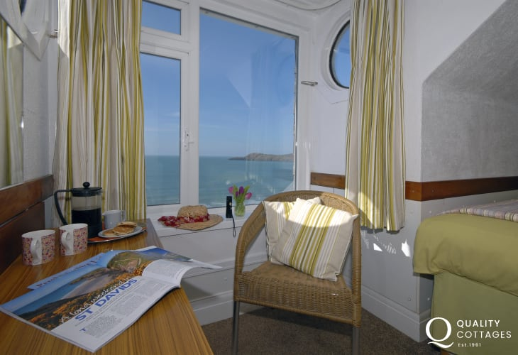 Sea views over Whitesands Bay from the first floor family bedroom