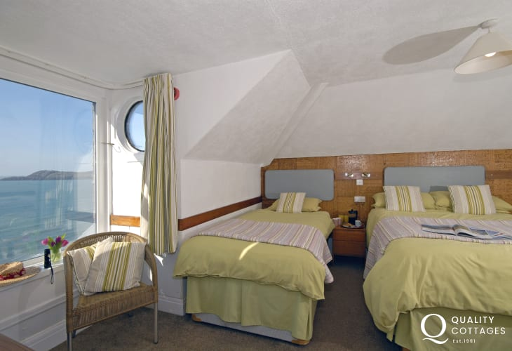 Whitesands Bay holiday house - first floor family bedroom with sea views