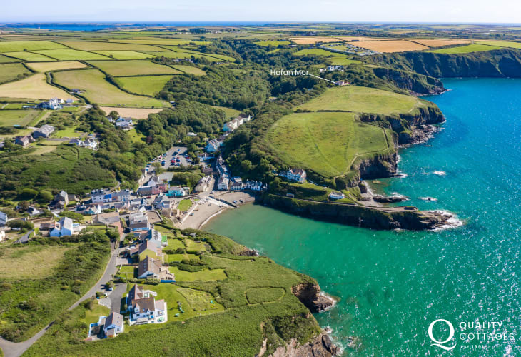 Aerial view of Hafan Mor short walk to Little Haven