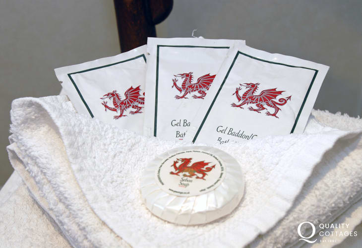 Complimentary Welsh soaps and shower products