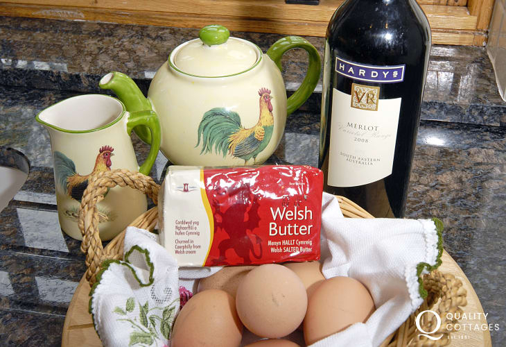 A basket filled with fresh farm goodies awaits you at Yr Hen Glowty