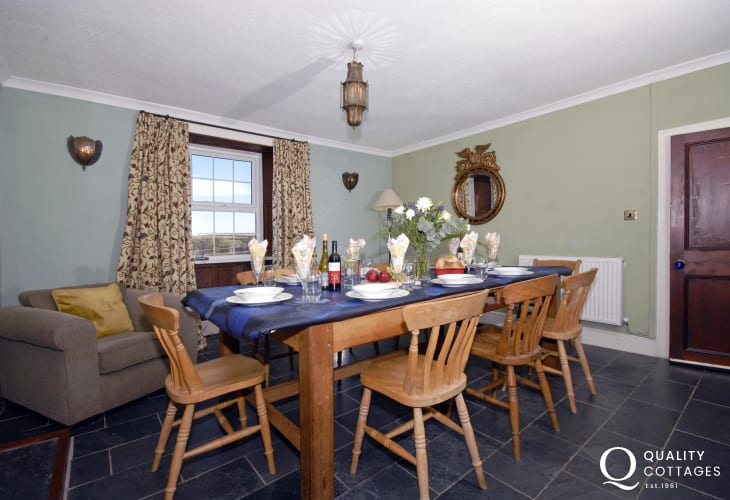 Broad Haven holiday farmhouse - dining room with rural views