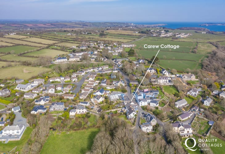 Aerial View of Carew Cottage's location in Manorbier