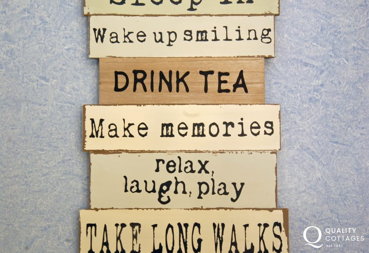 Pembrokeshire Haven Waterway holiday cottage interior decor slogan