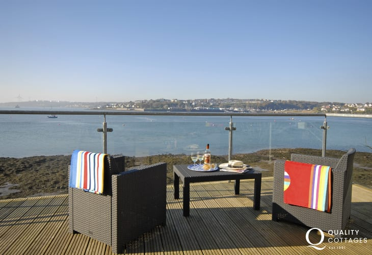South Pembrokeshire waterside holiday cottage - decking with scenic river views