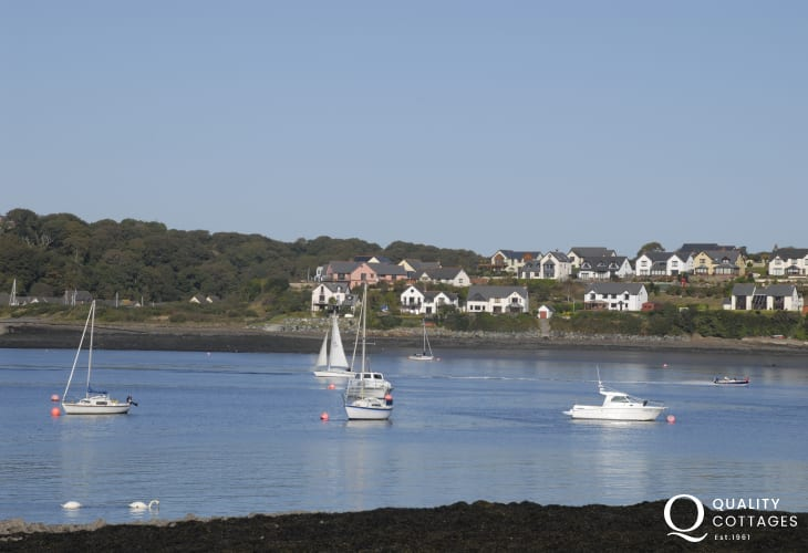 Views across the 'Secret Waterway' to Barnlake Point and Neyland marina, Pembrokeshire by riverside holiday cottage