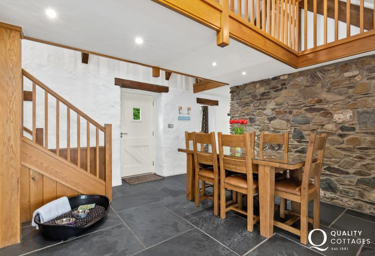 Slate Flooring, dinning area and oak stairway