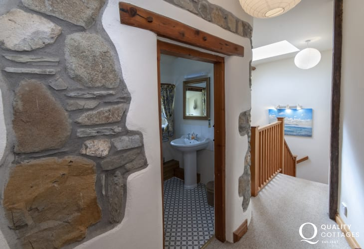 Pembrokeshire holiday cottage - landing with exposed stone work