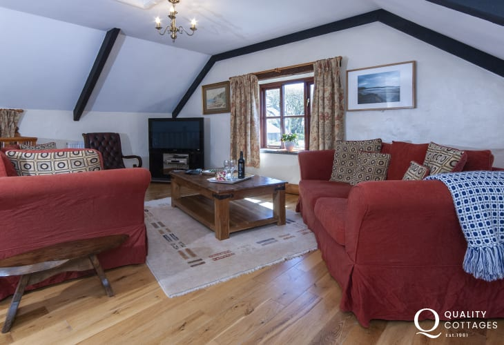 North Pembrokeshire holiday cottage near Whitesands Bay - comfortable sitting room with Freeview digital tv.