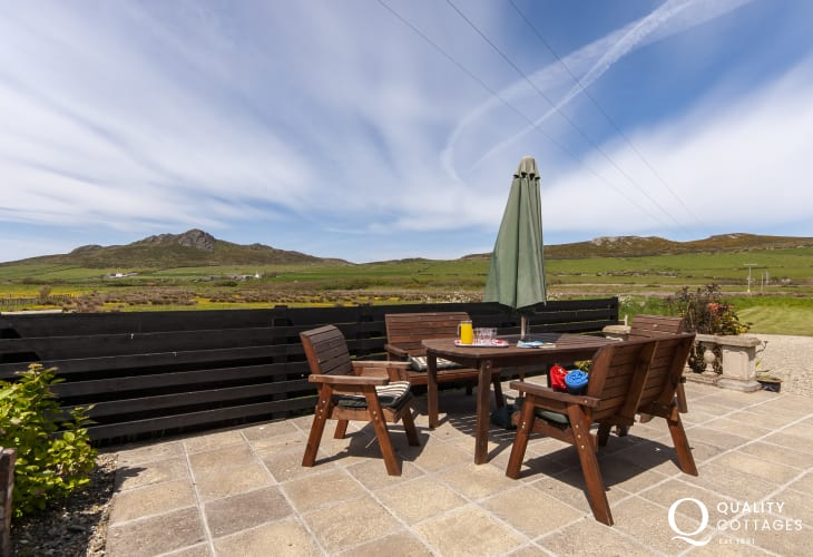 Wonderful uninterrupted views across open countryside to 'Carn Llidi' mountain from the patio