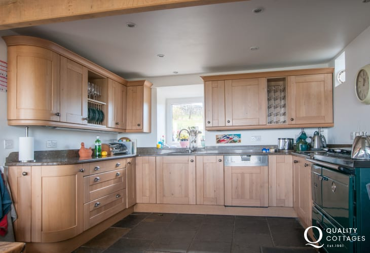 Luxury kitchen with Aga in holiday cottage near Aberdaron