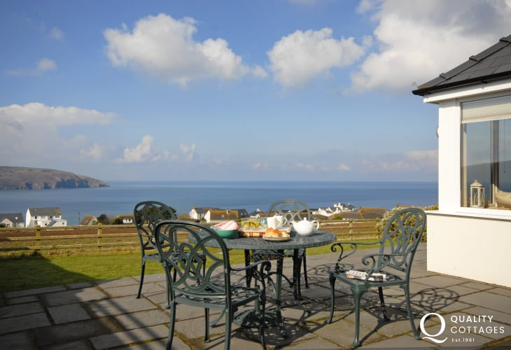 Fabulous views over The Teifi Estuary to Cemaes Head beyond from the patio and gardens