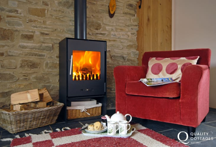 'Tea time' by the fire at Ria's Cottage