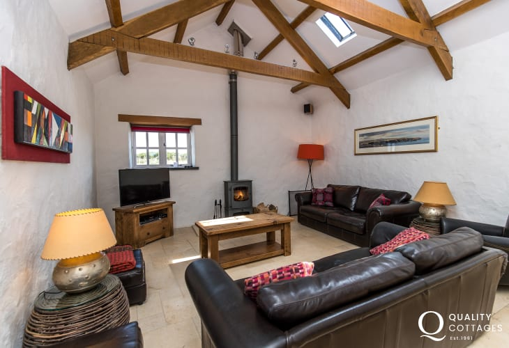 Converted former barn in North Pembrokeshire - Lounge with log burning stove
