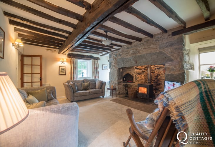 Lounge with wood-burner in rural Welsh holiday cottage near Dolgellau