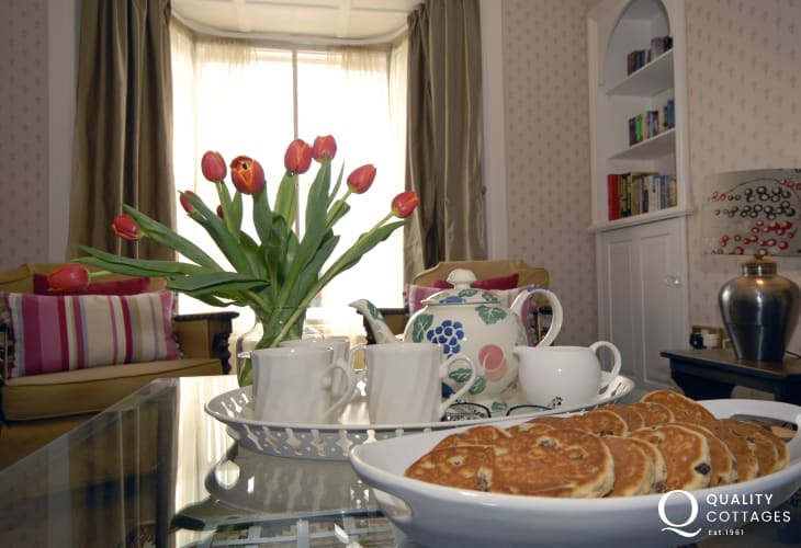 Welsh cakes and tea in the sunny sitting room