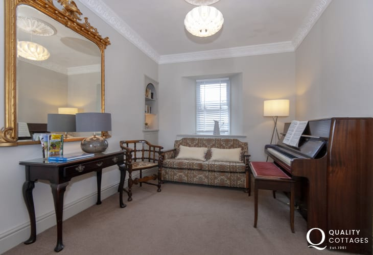 Aberaeron family holiday house - sitting room with piano