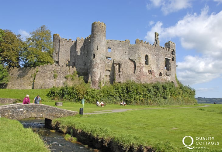 The romantic ruins of Laugharne Castle overlook the River Taf Estuary