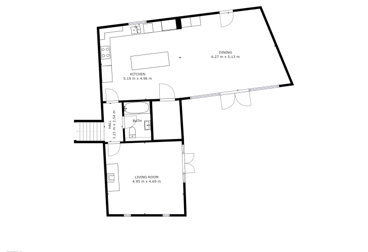 Floor plan ground floor kitchen & lounge