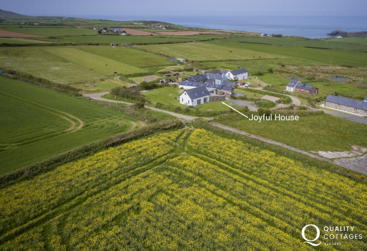 Aerial views of Joyful House (Ty Llawen) cottage Abereiddy