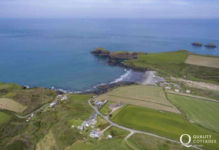 Aerial view of Joyful cottage and Abereiddy beach