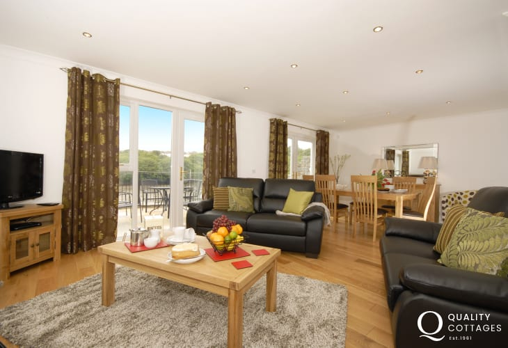 Luxury home for holidays - open-plan living with terrace and river views