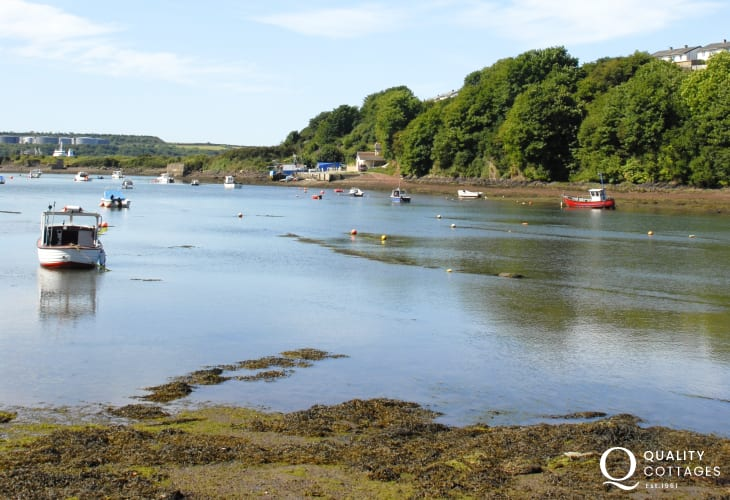 Panoramic views from the foreshore over Castle Pill to the Milford Haven  Waterway beyond