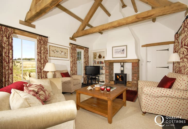 North Pembrokeshire holiday cottage - cosy sitting room and wood burning stove