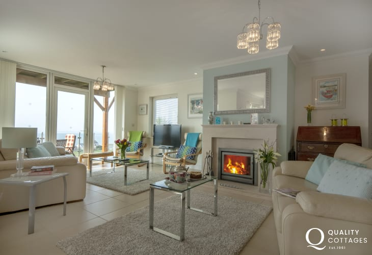 Gwbert Cardigan Bay luxury holiday home - lounge with log-burner and sea views