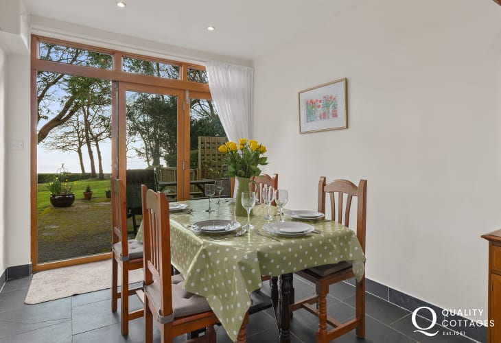 Dining Table with views out to garden and trees
