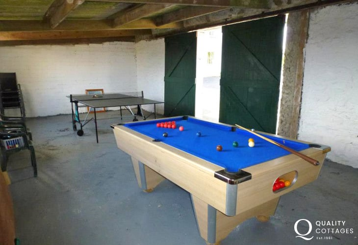 Pembrokeshire holiday games room