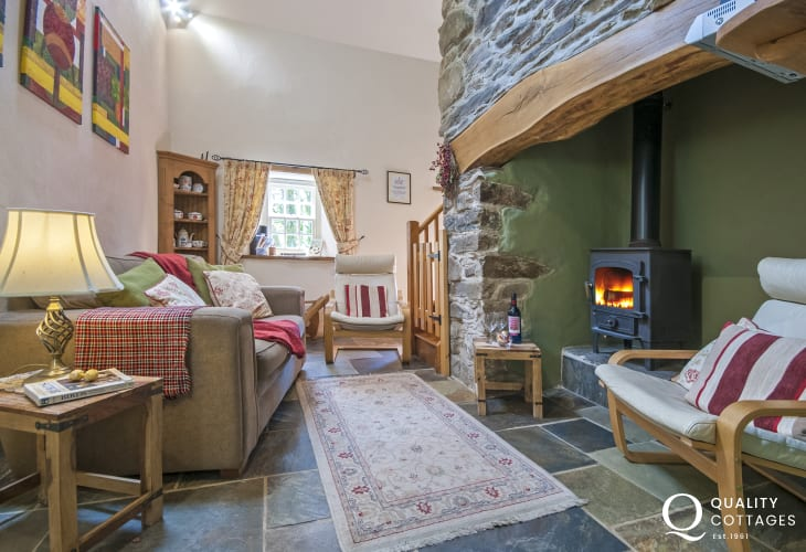Court Lodge sitting room with log burner