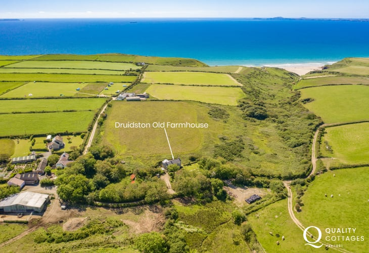 Druidston Old Farmhouse aerial location view
