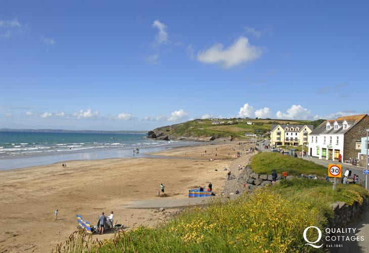 Broad Haven Beach (Blue Flag) is a glorious expanse of golden sand popular with families and water sports enthusiasts