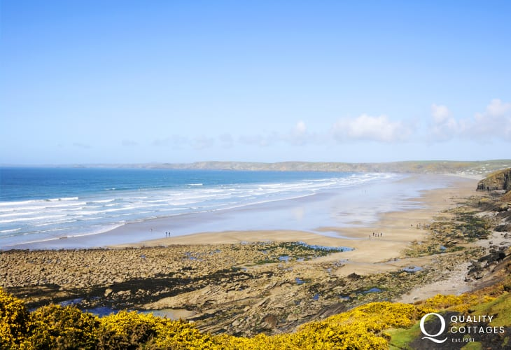 Walk the Coastal Path east to Newgale Beach - a surfers paradise