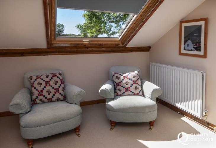 Ceibwr Cove luxury holiday cottage for 6 guests - master sitting area