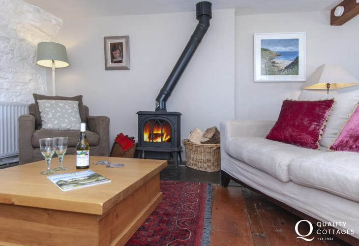 Living room with  cosy log burning stove
