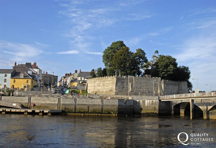 Newly restored Cardigan Castle sits on the banks of the River Teifi