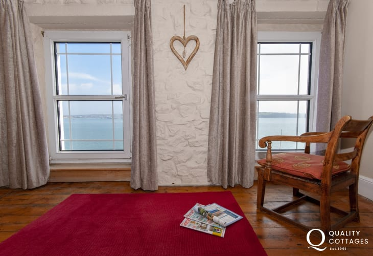 Kiln House master bedroom with views over the Haven Waterway