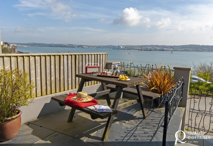 Fabulous views over the ever-changing waterway from the sheltered patio - a real sun-trap!