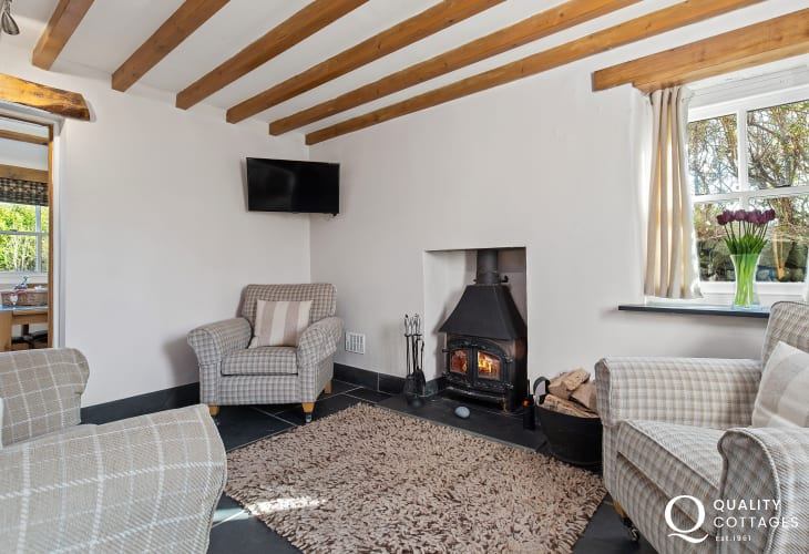 Sitting Room with armchairs and wood burning stove