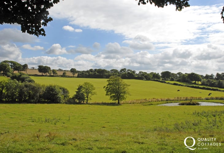 Lovely views over the rolling surrounding countryside from the cottage grounds