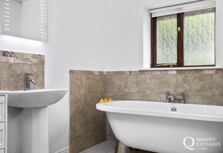 Ceredigion close by holiday cottage ensuite bathroom with separate shower