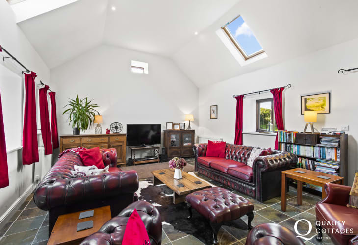 Teifi Valley cottage holiday spacious lounge chesterfield sofa and 2 armchairs log burner