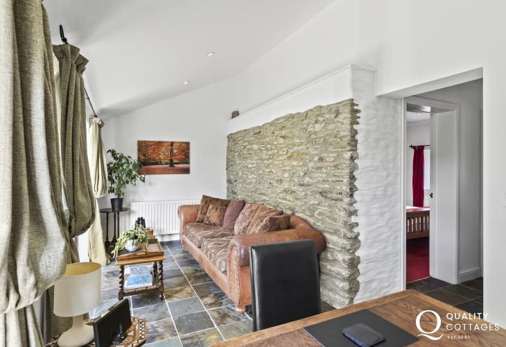Welsh Wildlife Centre nearby holiday cottage sitting area and french doors to the garden