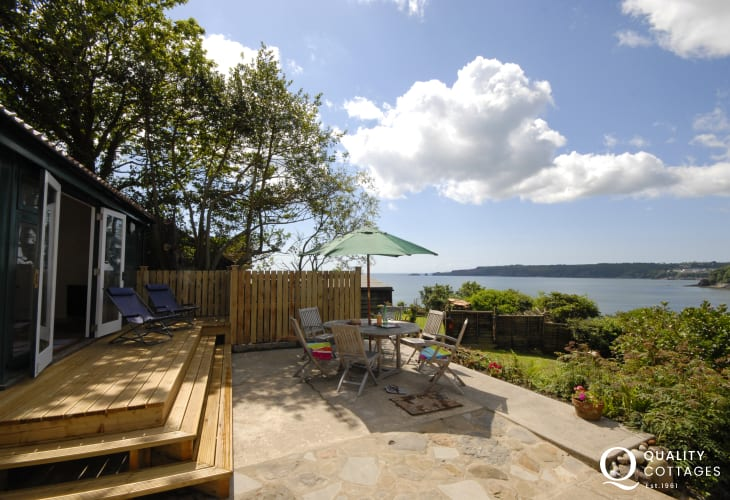 Enjoy fabulous coastal views over the gardens from The Shed at Monkstone View